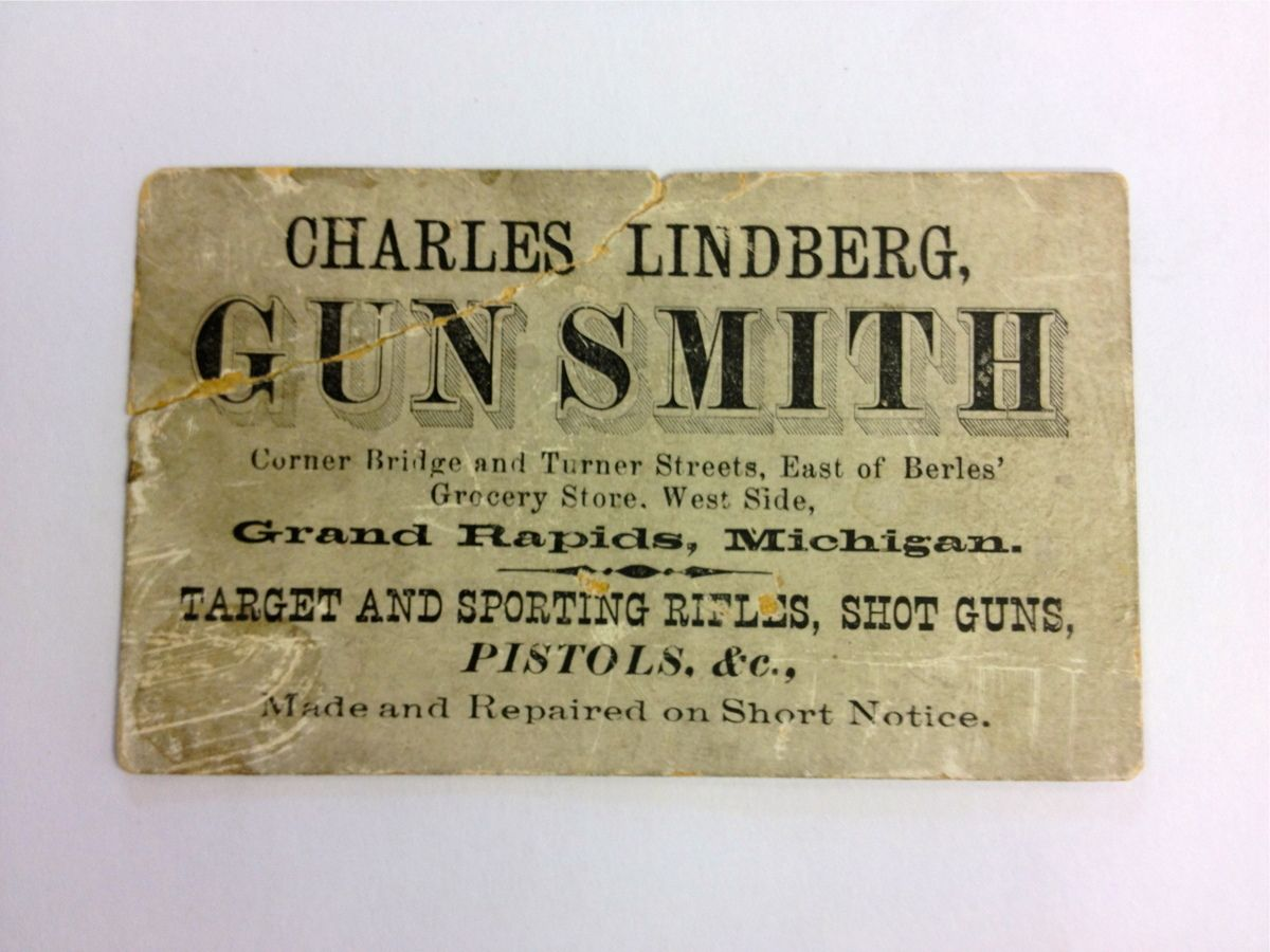 Ad card for Charles Lindberg, Gunsmith, corner Bridge & Turner - c ...