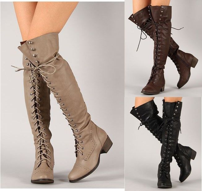 Breckelle ALABAMA-12 Over The Knee Thigh High Lace Up Military ...