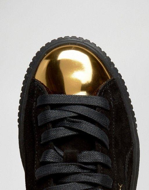 Puma Baskets en daim à plateforme avec bout renforcé doré