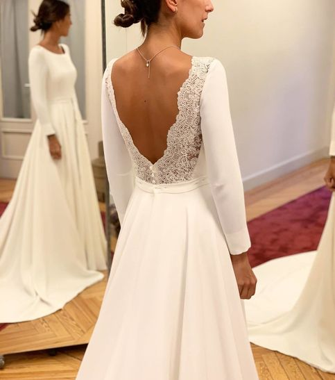 Photo of Charming A-Line Satin Long Wedding Dress,Sexy Open Back Lace Long Sleeves Sweep Train Bridal Gown.246
