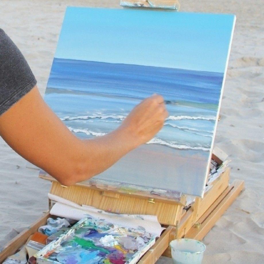How To Paint The Ocean And Beach Beach Art Painting Beach Scene Painting Ocean Painting