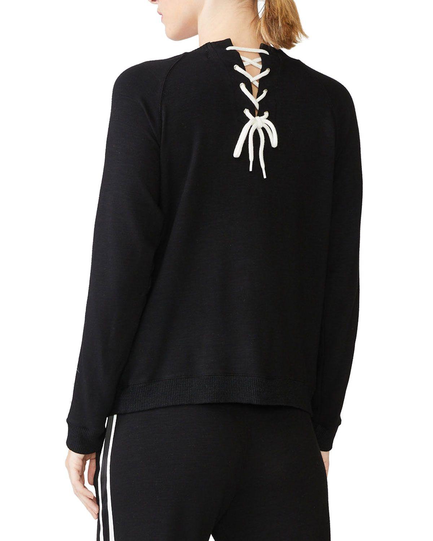 Monrow Crewneck Sweatshirt With Lace Up Back Crew Neck Sweatshirt Sweatshirts Monrow [ 1500 x 1200 Pixel ]