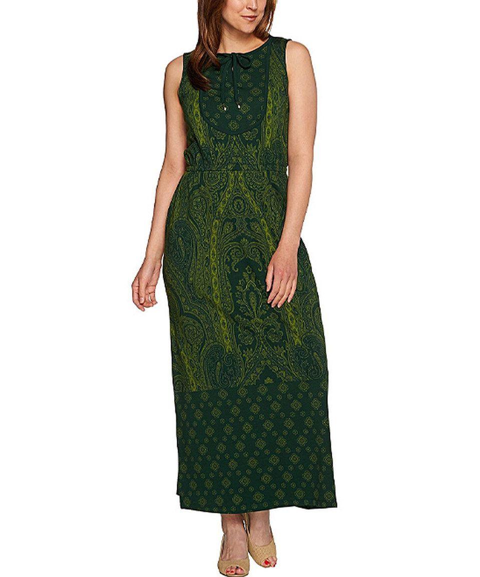 Love this Isaac Mizrahi Live! Dark Green Paisley Keyhole Maxi Dress - Plus Too by Isaac Mizrahi Live! on #zulily! #zulilyfinds
