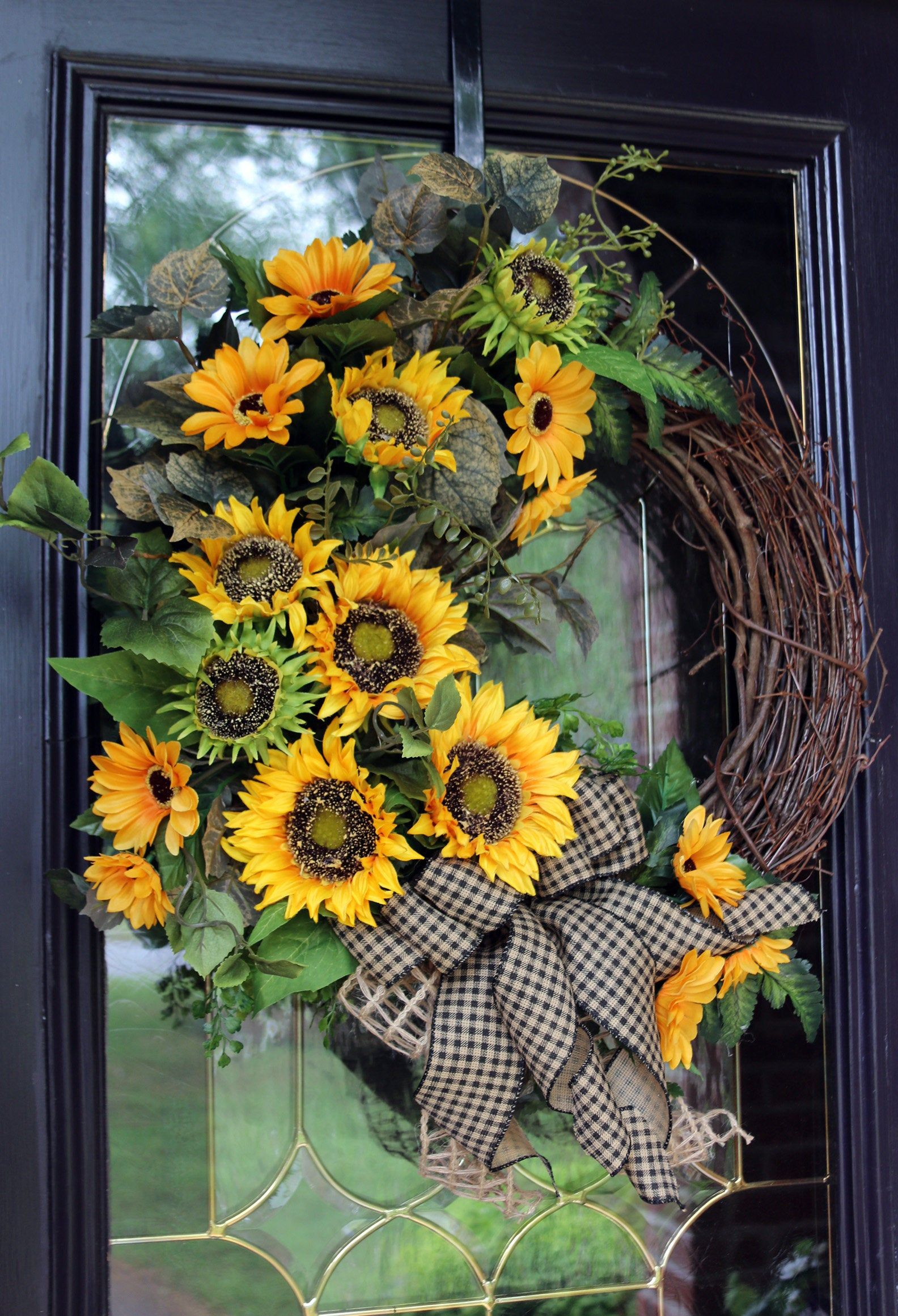 Photo of Sunflower wreath, Primitive Country Spring Wreath for Front Door with Sunflowers, Farmhouse wreath, Farmhouse wreath, Rustic Country Decor