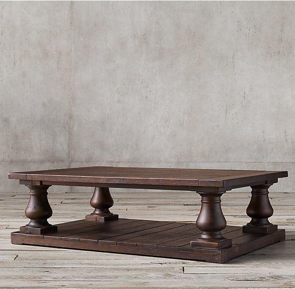 Balustrade Salvaged Wood Coffee Table Salvaged Brown Coffee