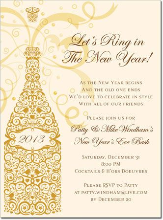 lets ring in the new year party invitation