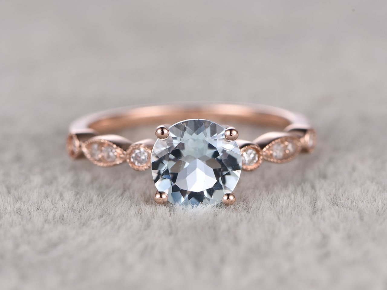 6mm Round Cut Aquamarine Engagement Ring Diamond Wedding Ring 14k