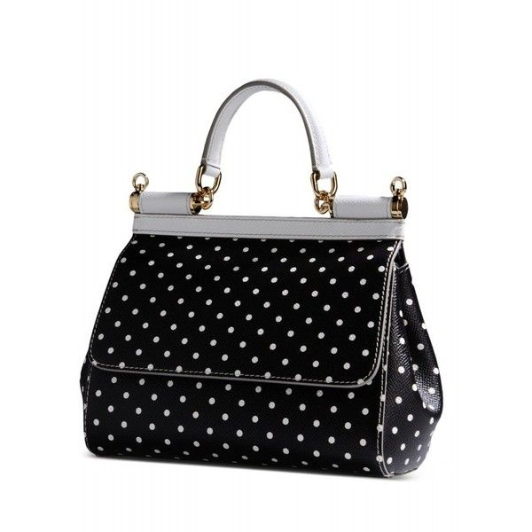 Dolce & Gabbana Mini Polka Dot Sicily Satchel ($813) ❤ liked on Polyvore featuring bags, handbags, black leather purse, satchel purse, top handle handbags, black purse e black satchel
