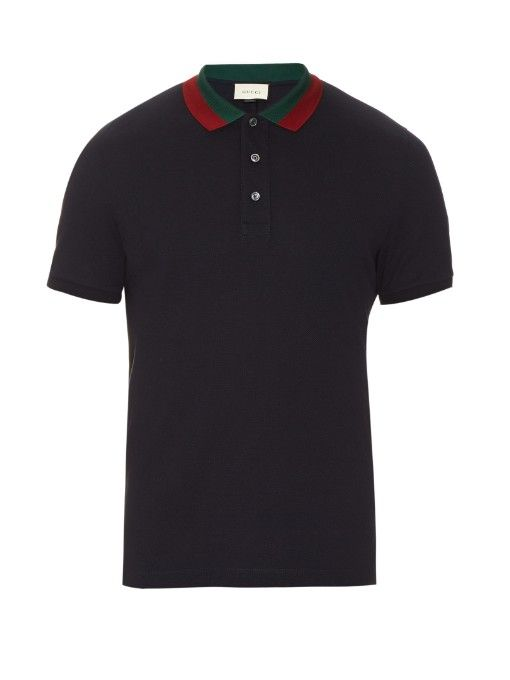 c7da28b0b62f Gucci Floral-embroidered cotton-blend polo shirt | Dope Polos | Slim ...