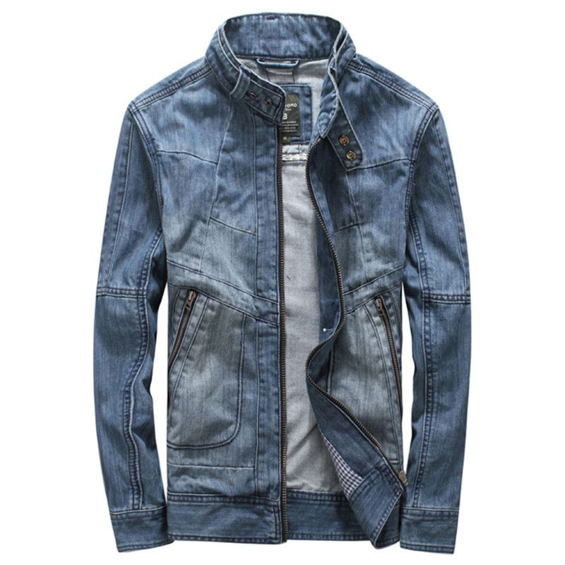 2017 New Denim Jacket Men Jeans Jacket For Men Stand Up Collar Cotton  Outerwear Jean Jacket 7fc259c64b