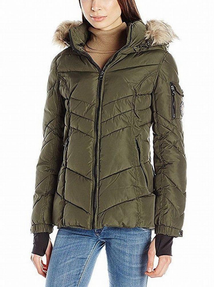 Madden Girl New Green Women Size Medium M Faux Fur Hooded Puffer