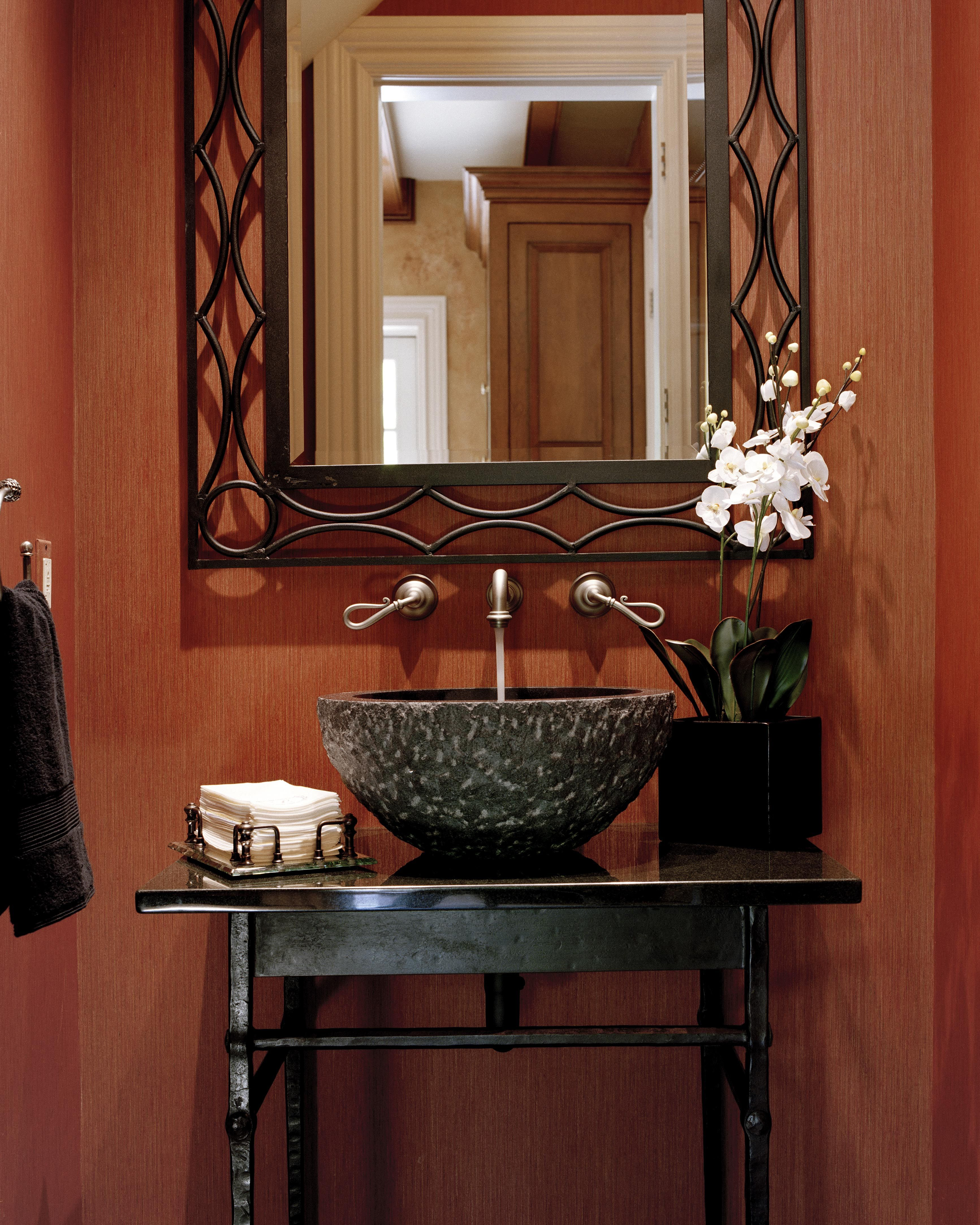 Powder Room With Stone Forest Vanity, Brazilian Slate And Donghia