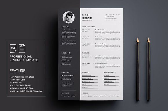 Resume\/CV by deviserpark on @creativemarket Ready for Print Resume - print resume
