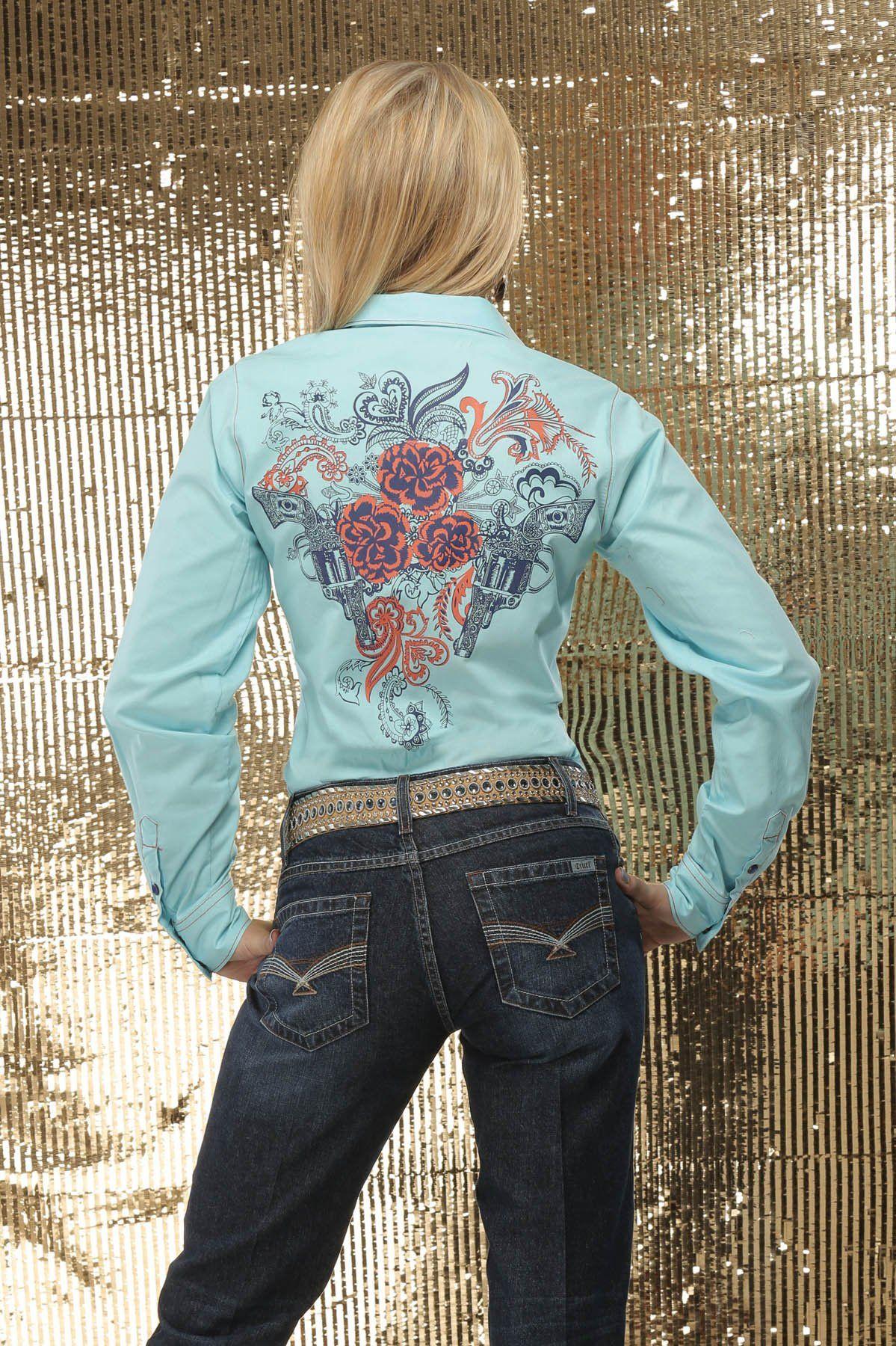 ❤ Cowgirl Country Aqua Snap Shirt