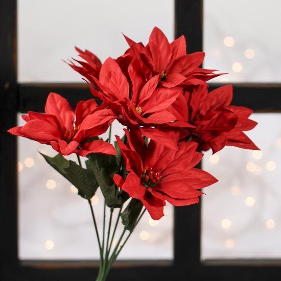 Red Artificial Poinsettia Bush