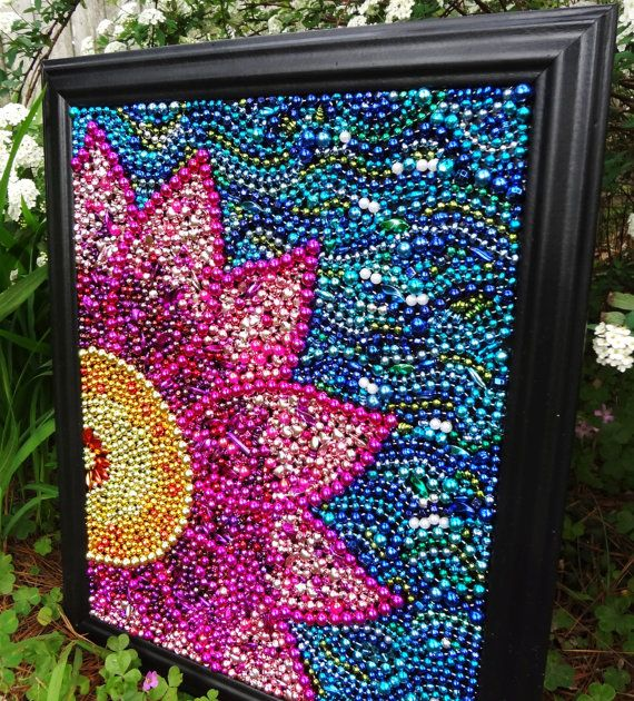 Original wall art Spring flower, pink and yellow, blue, whimsical Mardi Gras bead  mosaic, collage