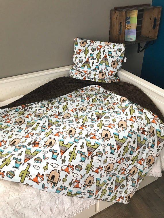 Woodland Animals Desert Minky Pillow Blanket Brown