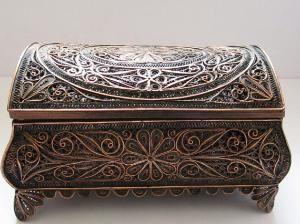 Vintage Box Filigree Copper Fine Art Jewelry Box by Trinkets4Muses