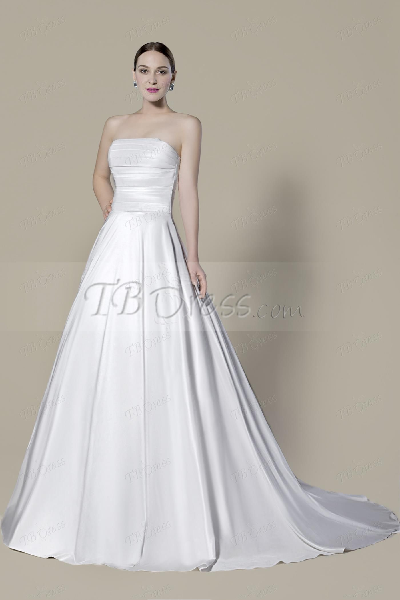 Strapless pleats buttoned back wedding dress ideas spur of the