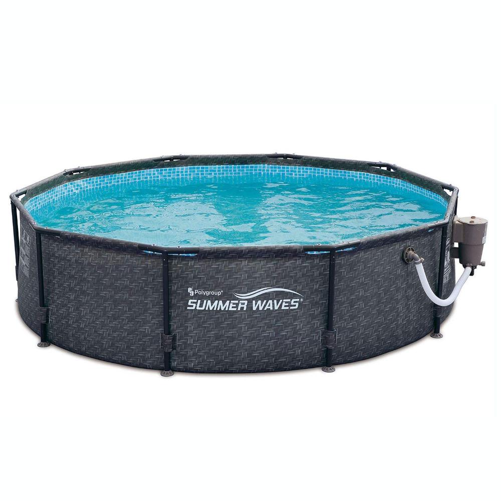 Amazon Com Summer Waves 10 X 30 Above Ground Frame Swimming Pool Set W Pump Dark Wicker Garden Outdoor Summer Waves Swimming Pools Pool