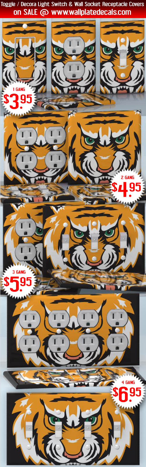Diy Do It Yourself Home Decor Easy To Apply Wall Plate Wraps Triple Gang Switch Face Green Eyed Madness Very Mad Tiger 3 Socket Duplex Receptacle Decal Skin Wrap Sticker Animals