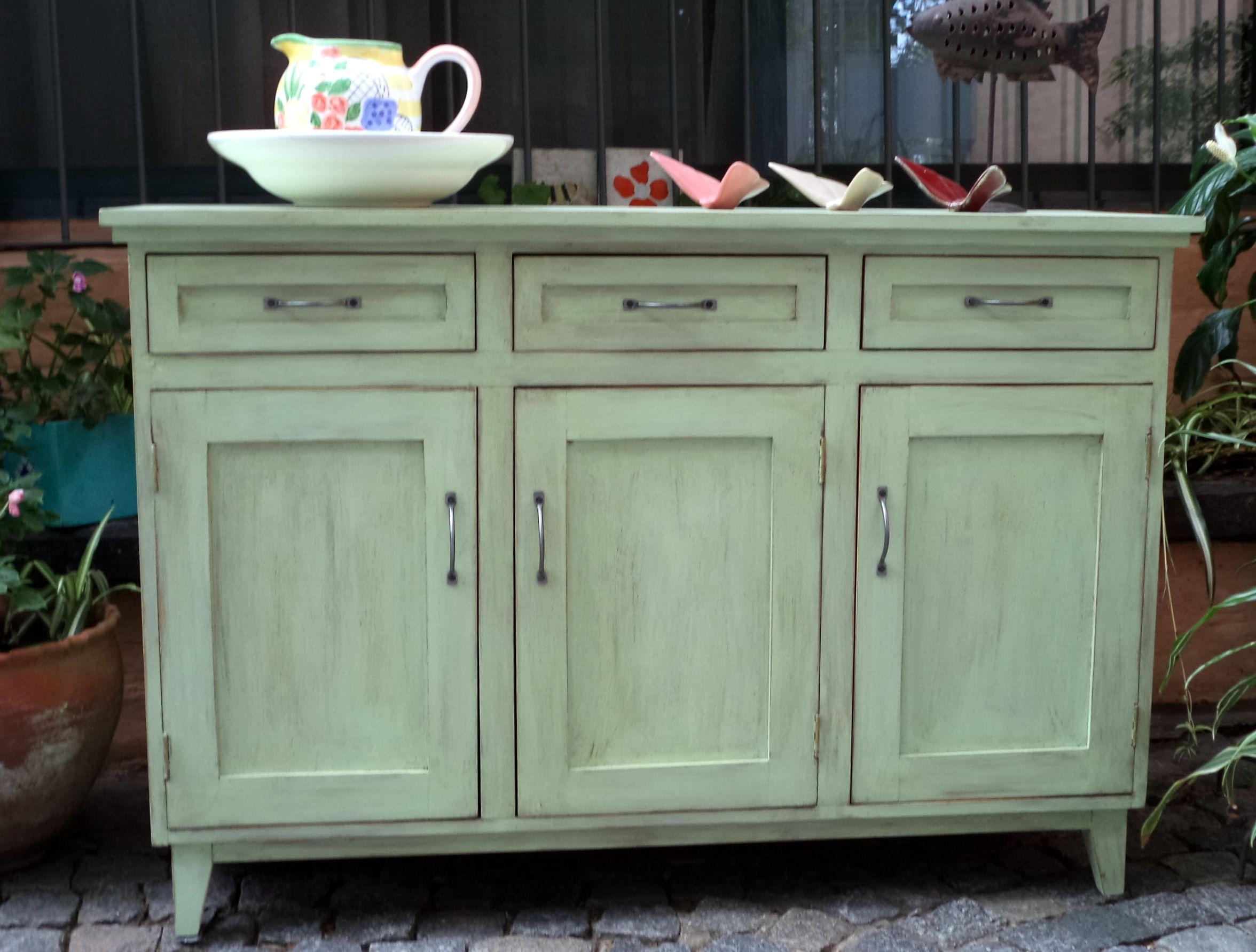 Bahiut Americano En Color Verde Patinado Cosas Para Comprar  # Muebles Patinados En Blanco