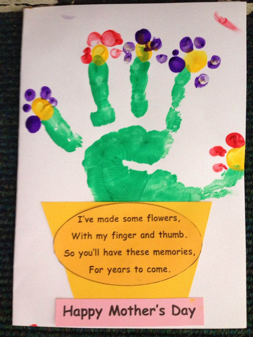 Mother 39 s day cards with junior infants using hand prints for Mothers day cards from preschoolers