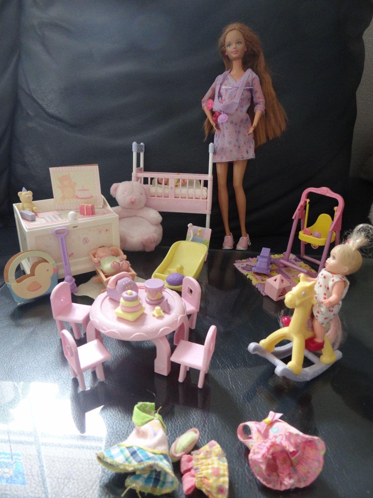 Perfect Mattel Barbie Happy Family Schwangere Midge mit Baby Kinderzimmer viel Zubeh r in Spielzeug Puppen