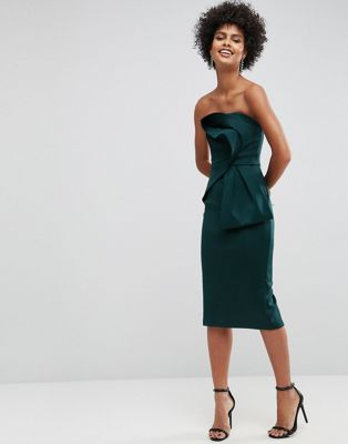 Deep Plunge Bow Front Midi Bodycon Dress - Forest green Asos