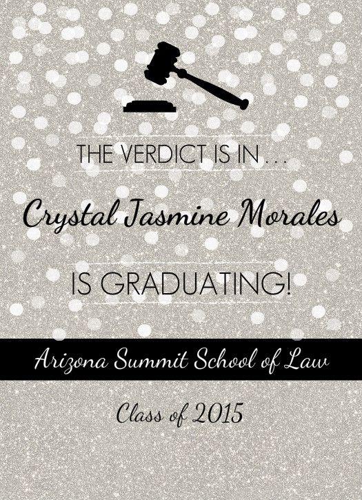 Law School Graduation Invitation Gray and Black graduation party