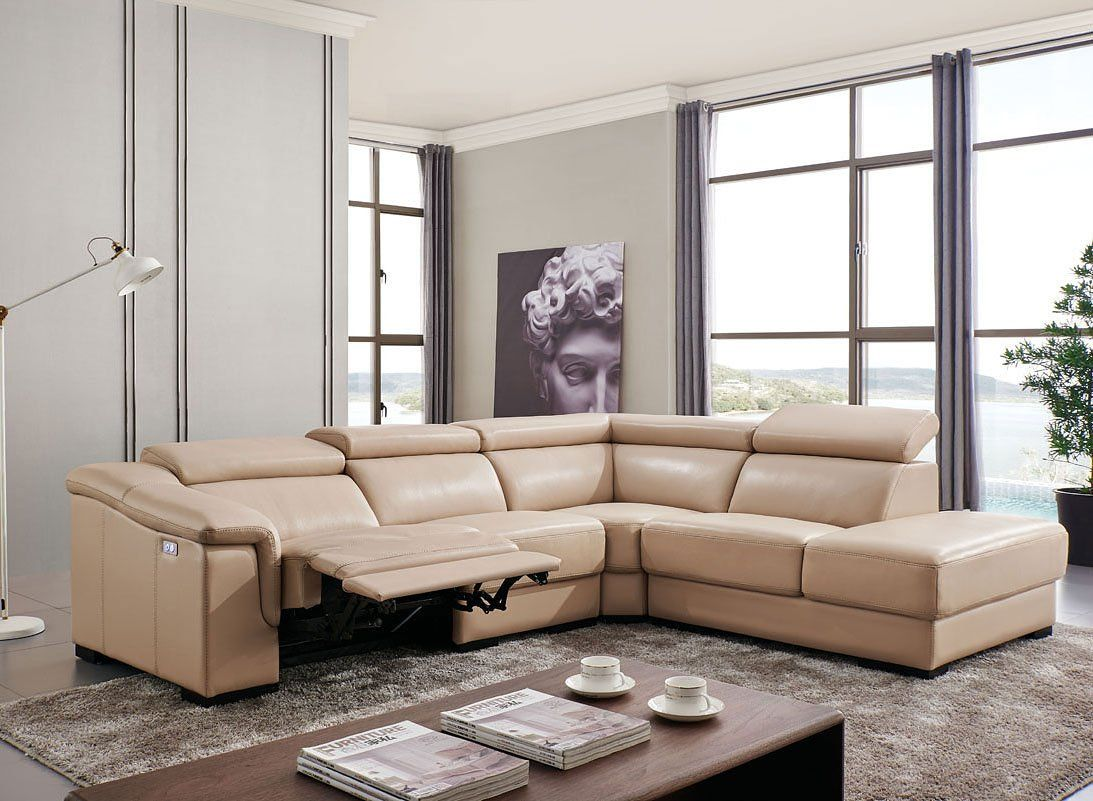 760 Right Side Sectional W Electric Recliner Reclining Sectional Esf Furniture Living Room Leather