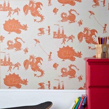 "PaperBoy ""ere-be-dragons Wallpaper - Stone-taupe & orange"