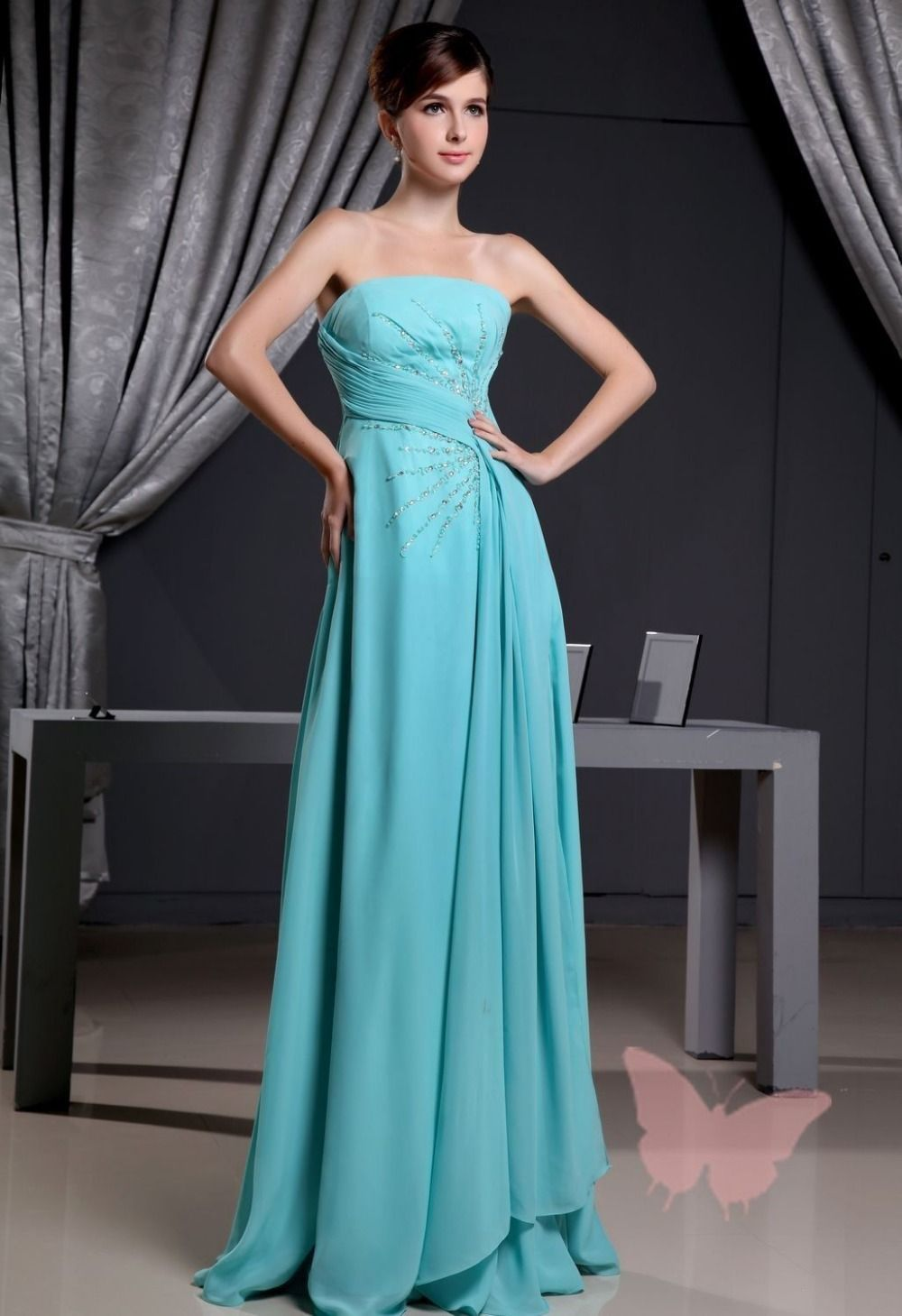 Click to Buy << Floor-Length Silver the Strapless Mother of the ...