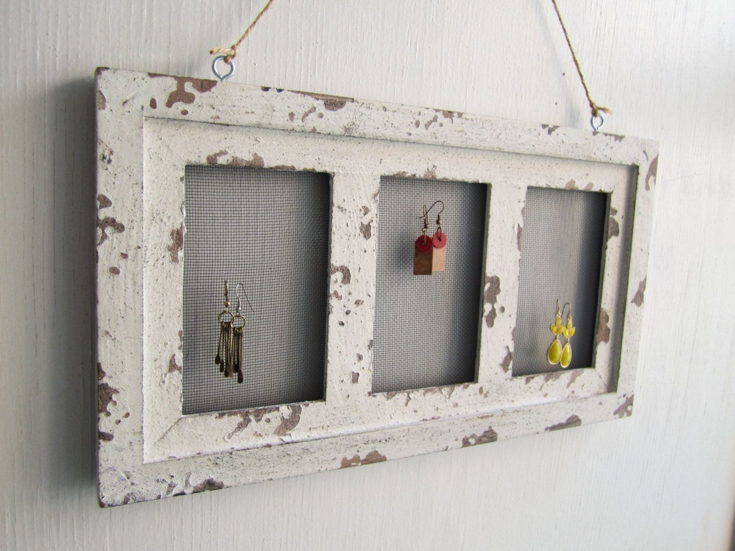 Earring holder - picture frame with small mesh/chicken ...