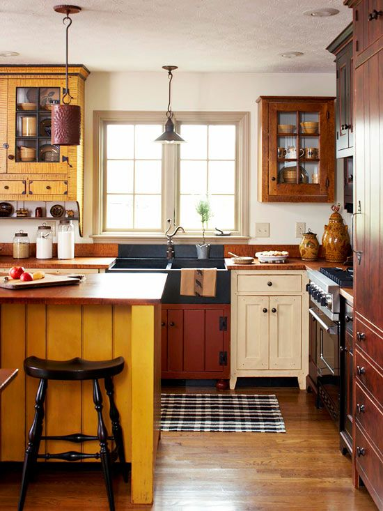 Warm colors wood textures and reproduction antique for Warm kitchen designs