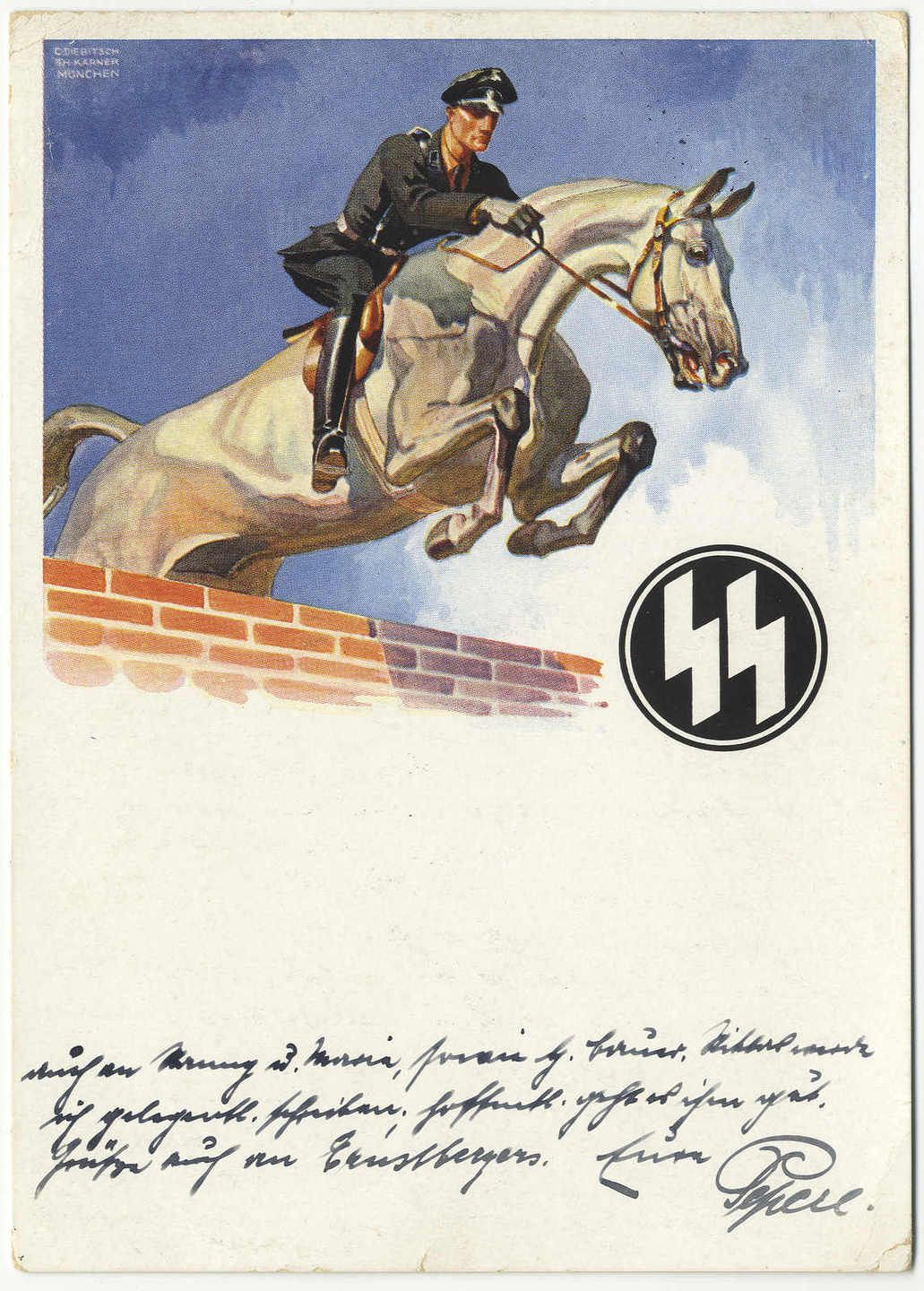 Waffen SS Reiter horse jumping PC. The Real Deal! 10-8-1935 in very good condition. Extremely rare PC!