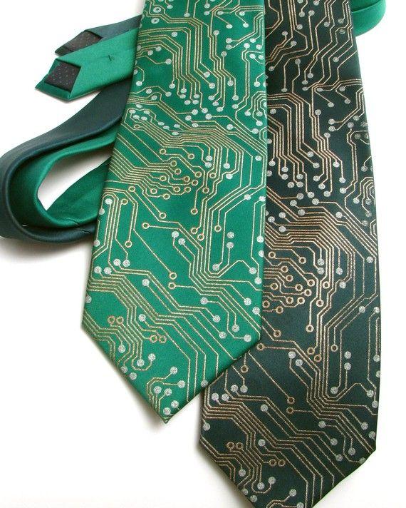 394083263c Circuit Board Tie - Metallic Copper and Silver Ink on green or black  necktie. ScatterbrainTies shop on  etsy  30