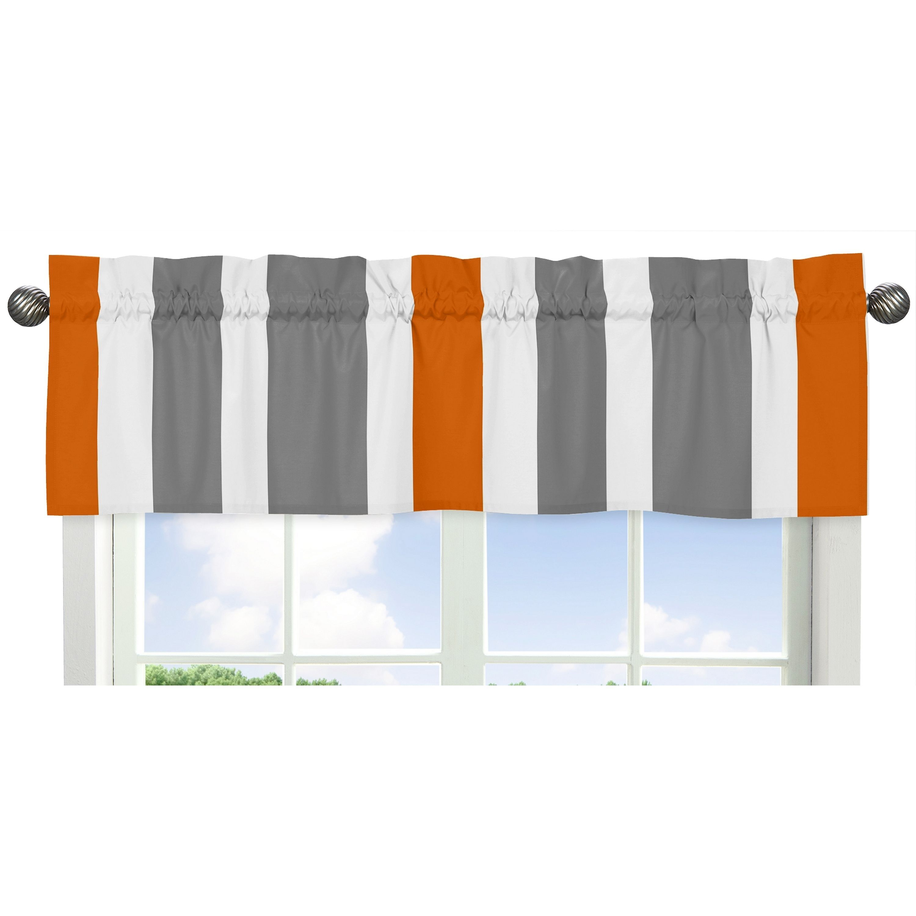 Create a bold and original look with this distinctive valance the rod pocket design has a finished look while the orange grey and white stripes provide