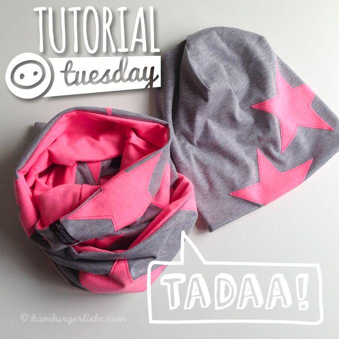 Tutorial Tuesday: heute gibt es jede Menge hitverdächtige Stars... auf einem Loop und einem gefütterten Wende-Beanie! #textiledesign
