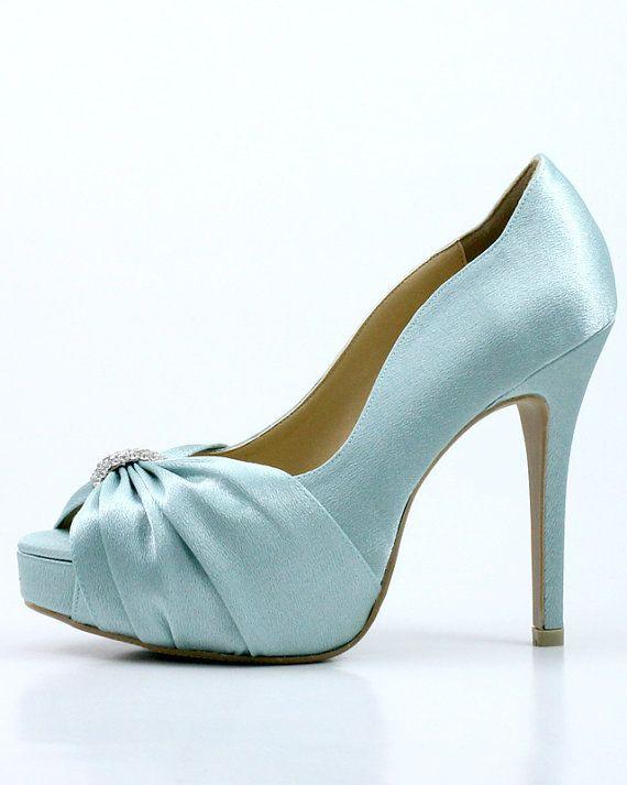 Something Blue Wedding Shoes with Rhinestones Powder by ammiejoyce ...