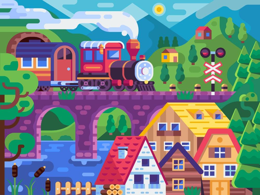 Mountain Train Journey Train Illustration Illustration Coloring Books