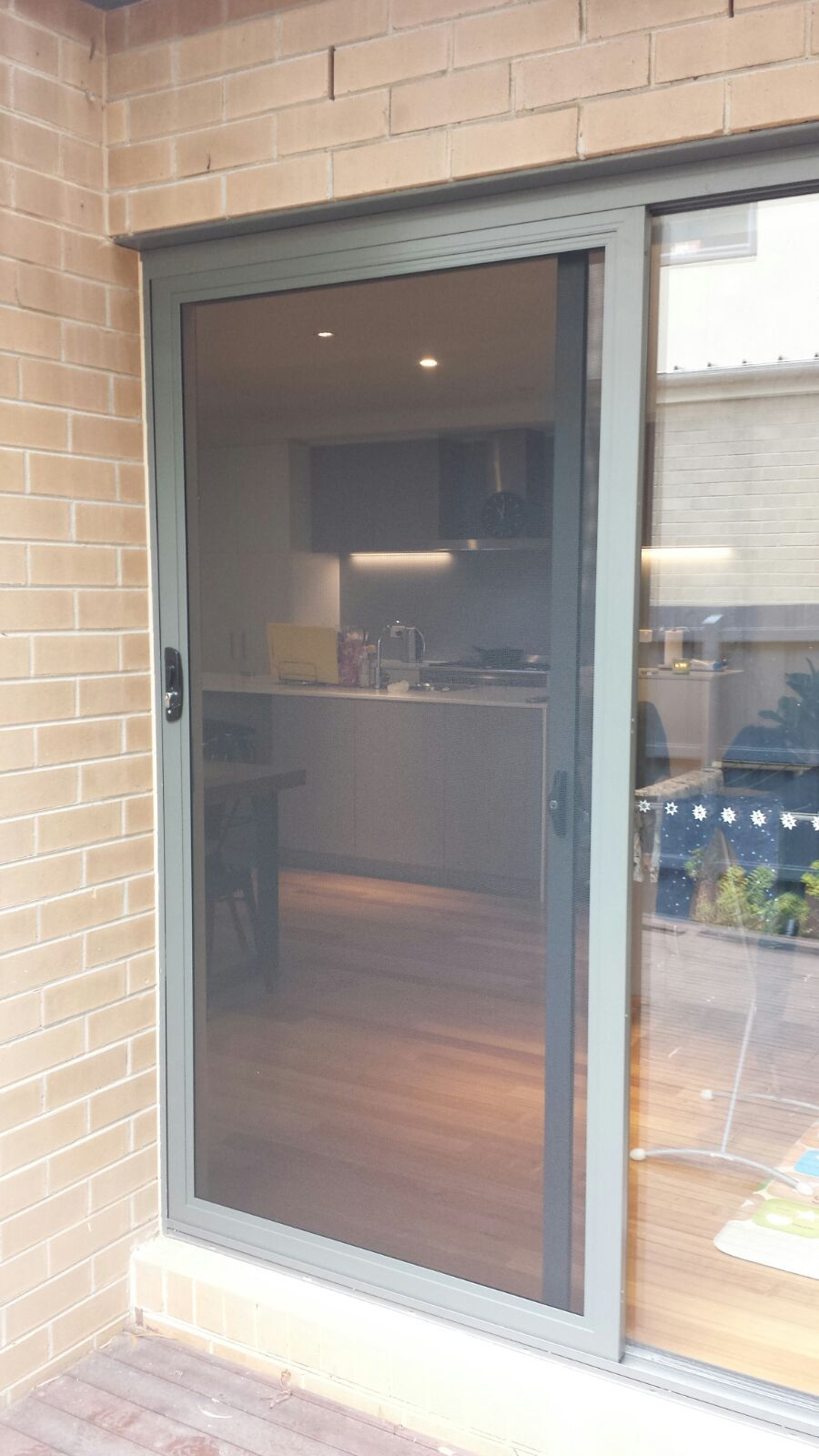 Aluminium Frame Security Slidingdoor With Stainless Steel Mesh Installed In Mt Waverley Portas