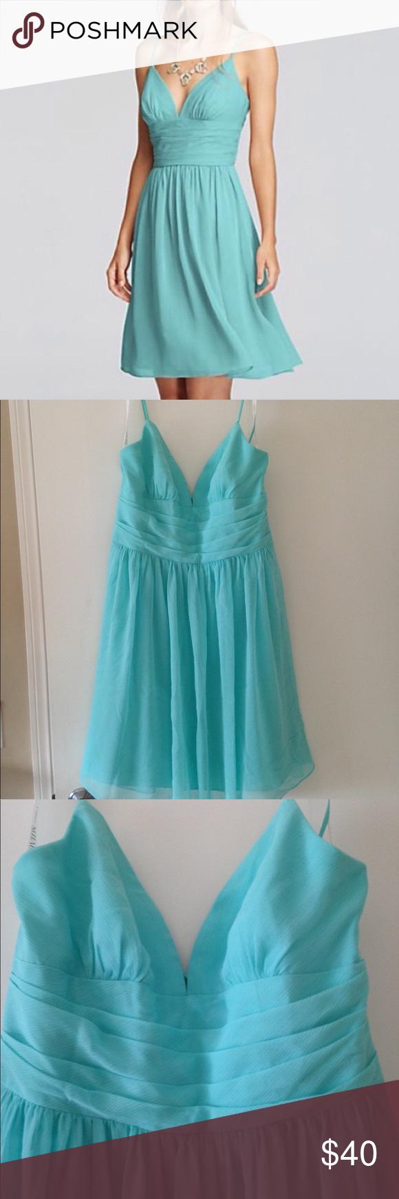 Davids bridal chiffon dress chiffon dress blue green and size