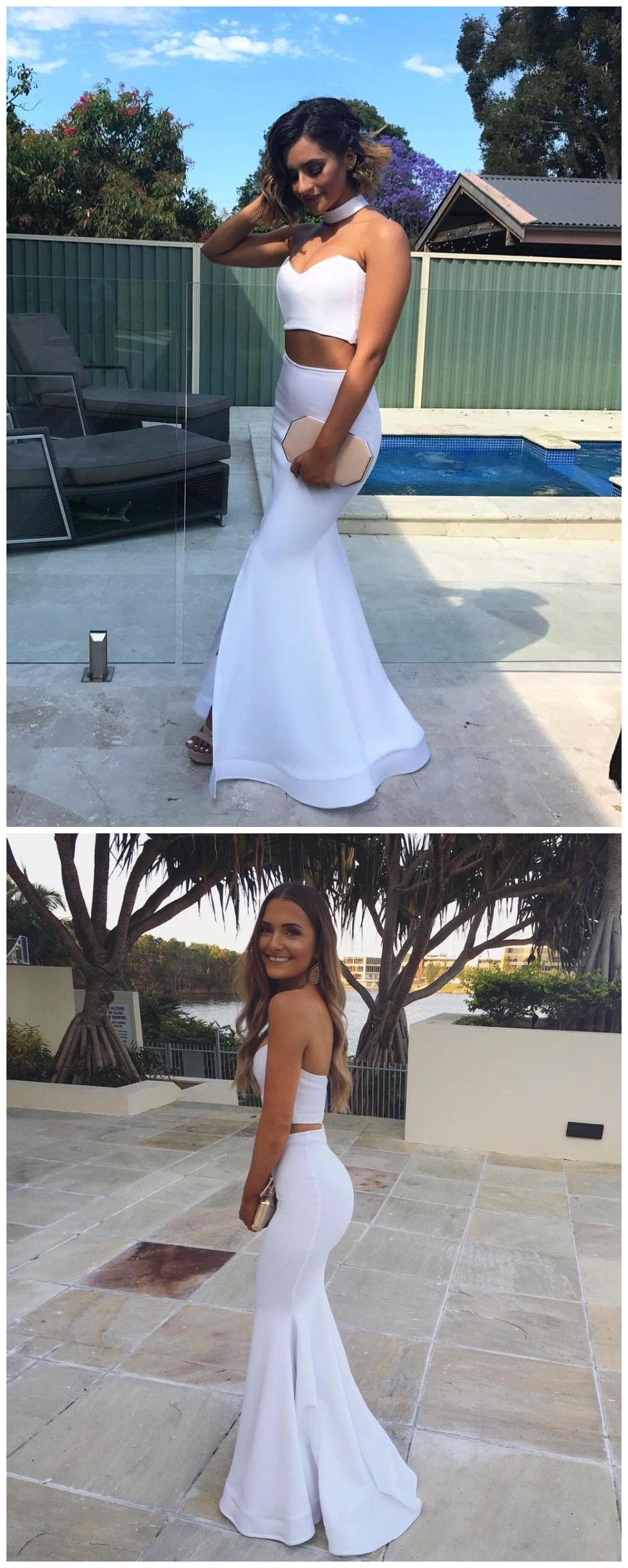 two pieces mermaid sweetheart simple cheap long prom dresses