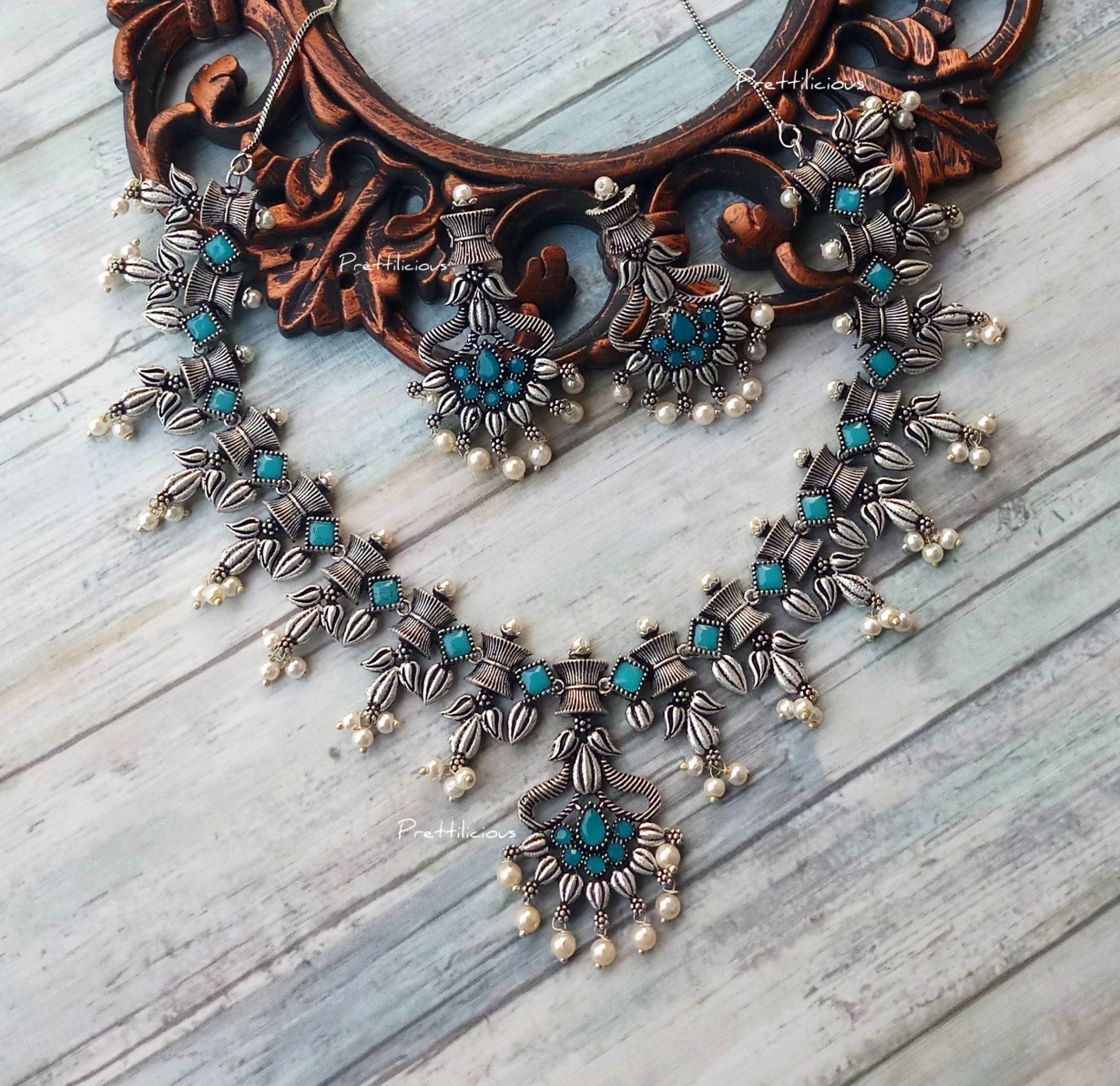 necklace and earrings combo set earrings,boho gypsy look Afghani Jewelery stone studded necklace Afghani necklace set
