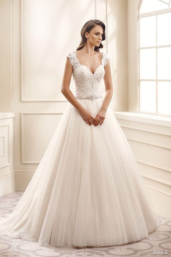 81ca2942ddf eddy k bridal 2016 cap sleeves thick straps sweetheart lace bodice a line  wedding dress (ek1711) mv romantic