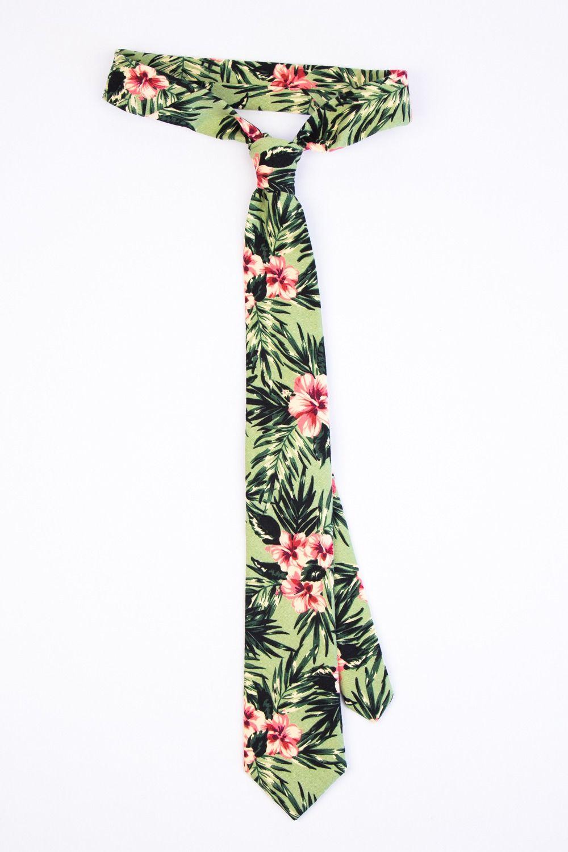 Tropical hawaii tie, Green pink Hawaiian beach wedding