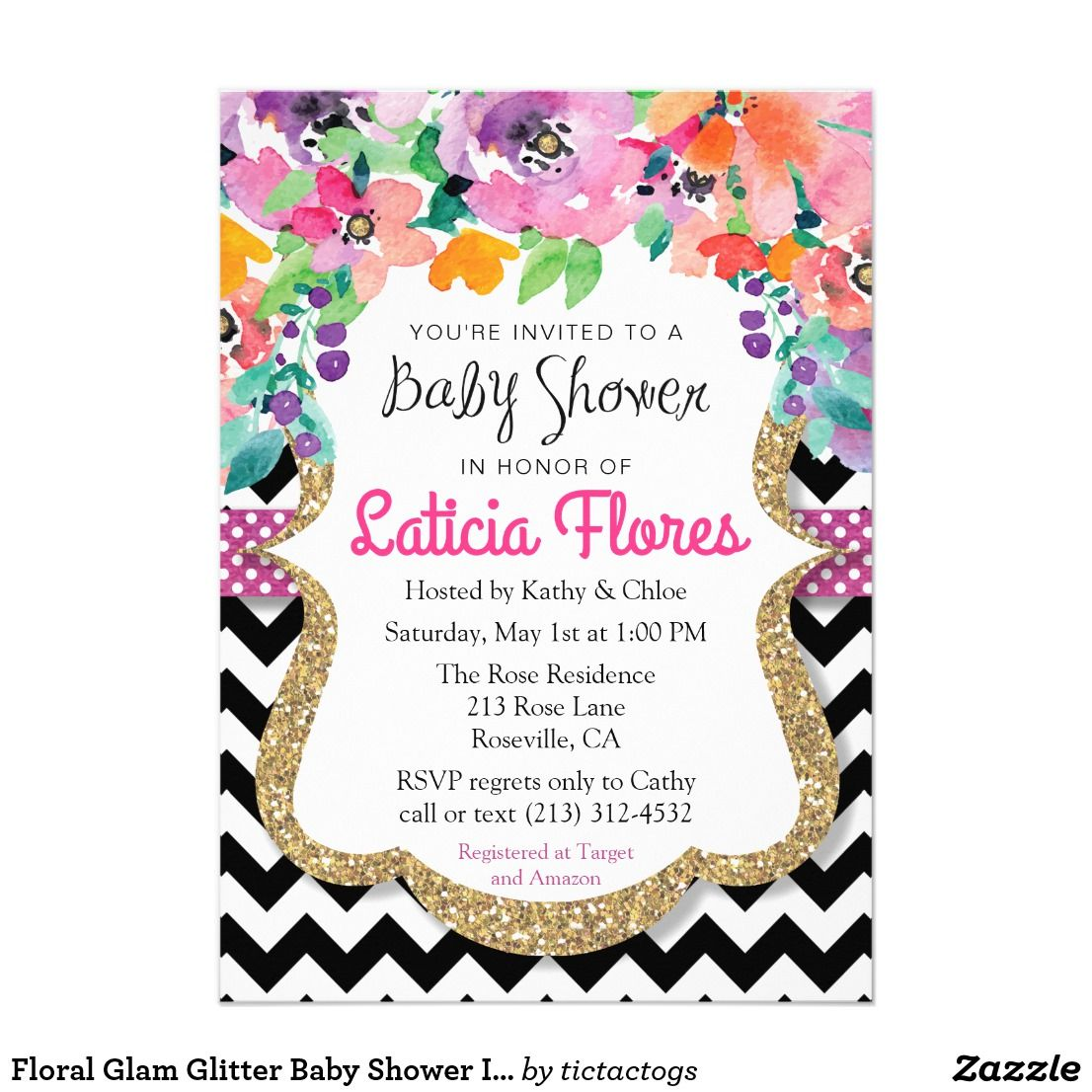 Floral Glam Glitter Baby Shower Invitation | Chic baby and Shower ...