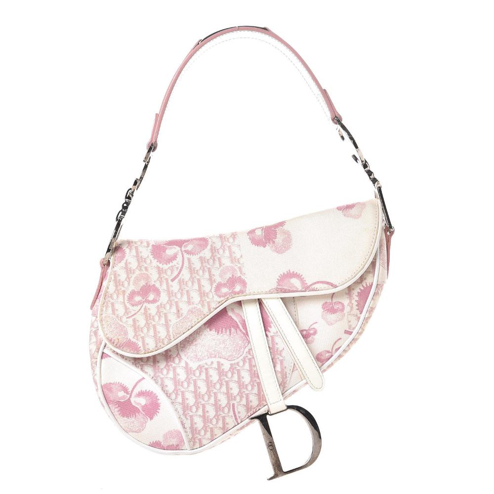 CHRISTIAN DIOR Monogram Floral Saddle Bag Pink in 2020