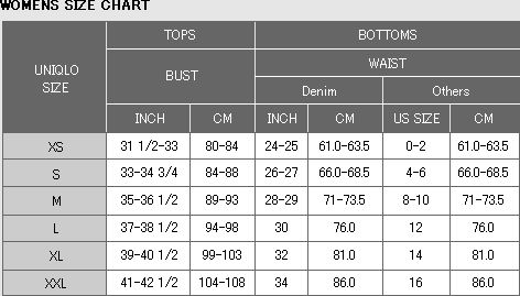 Uniqlo Size Chart In 2020 Size Chart For Kids Uniqlo Womens Size Chart
